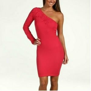 BCBG Pink Bodycon Dress One Shoulder XS/S